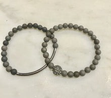 Load image into Gallery viewer, Two piece gunmetal gray agate set