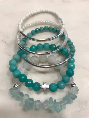 Aqua and white five piece stack set
