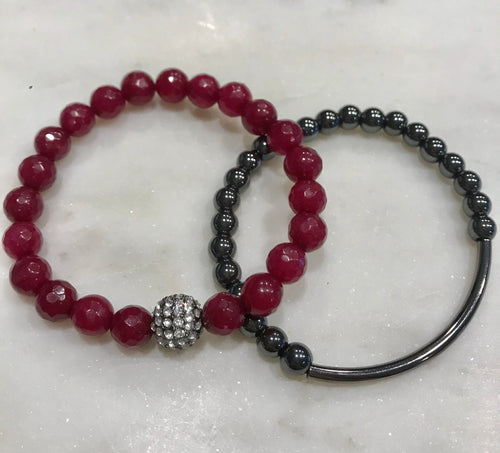 Cranberry and gunmetal