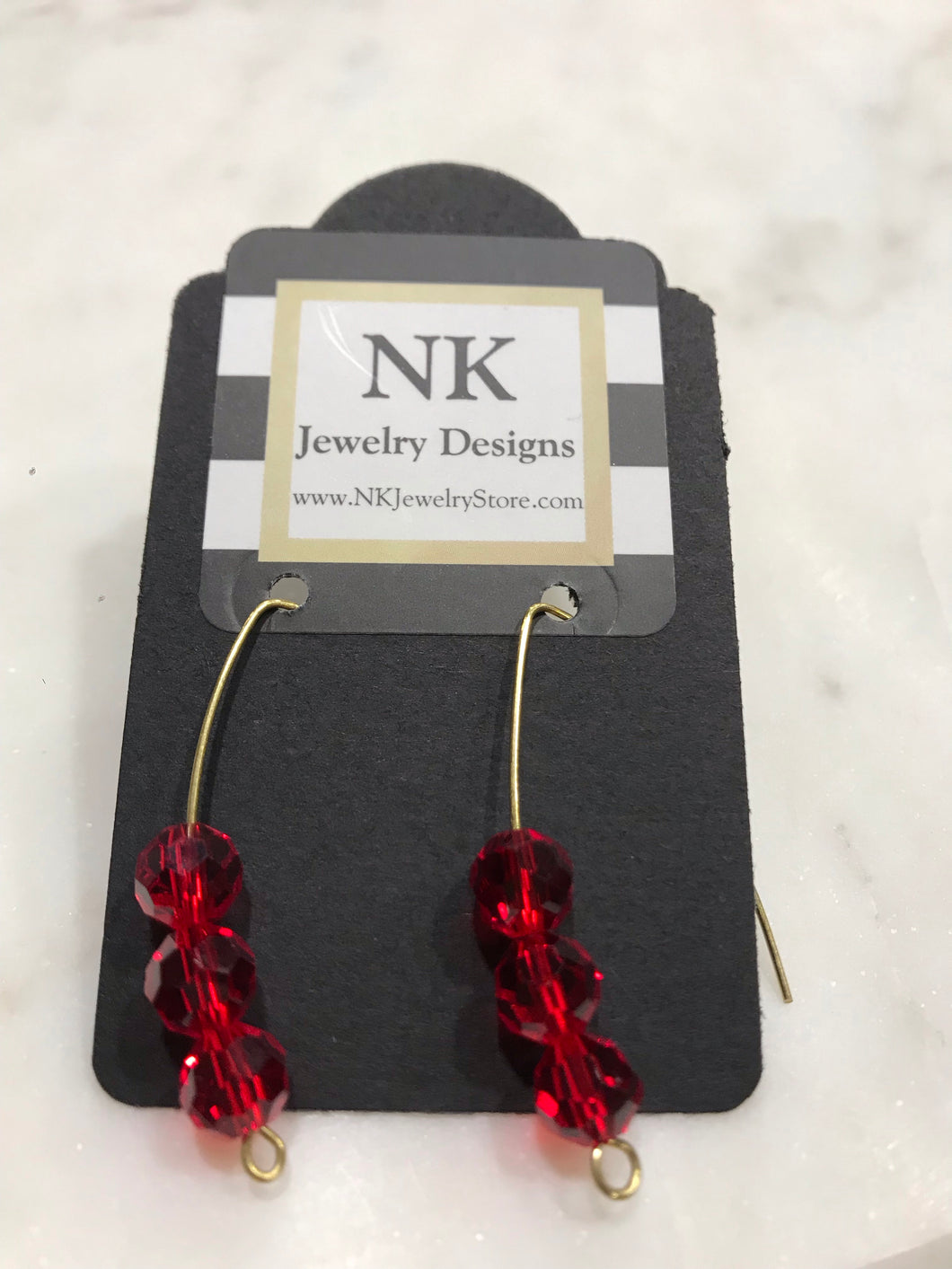 Brass Wire Earrings with Red Crystal beads