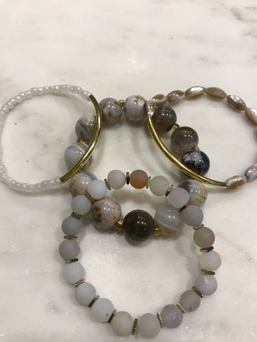 Gray, white and gold three piece agate and shell stack set