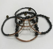 Load image into Gallery viewer, Five piece hematite and rose gold bracelet stack set