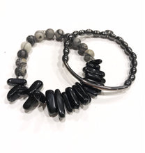 Load image into Gallery viewer, Black and gray jasper spike set
