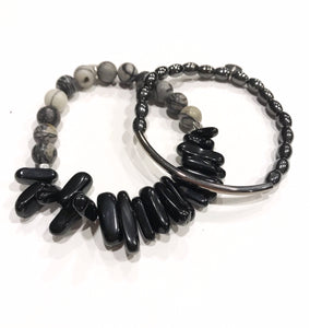 Black and gray jasper spike set