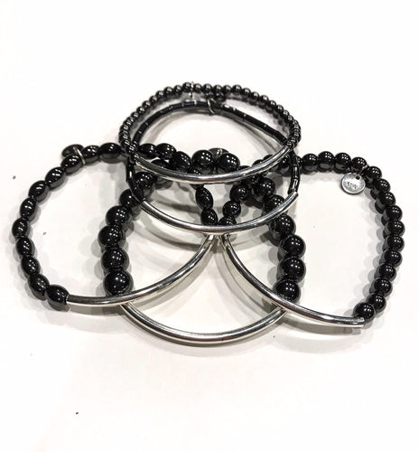 Five piece hematite and silver bracelet stack set