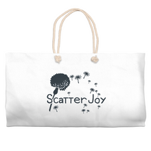 Load image into Gallery viewer, Scatter Joy Cotton Tote for an inspirational way to carry products and purchases. Perfect for a day of errands, the beach or any time you need a place to store all the goodies.