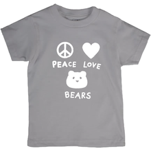 Load image into Gallery viewer, Peace, Love, Bears T-Shirt For Kids | T-Shirt For Bear Lovers | Inspired T-Shirt | Cute Kids Clothing | Bella + Canvas