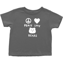 Load image into Gallery viewer, Peace, Love, Bears T-Shirt For Toddlers | T-Shirt For Bear Lovers | Inspired T-Shirt | Cute Toddler Clothing | Rabbit Skins Tee