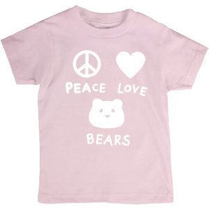 Peace Love Bears T-Shirt For Big Kids | Youth Unisex, Eco-Friendly T-Shirt | Children's Graphic Tee