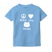 Load image into Gallery viewer, Peace, Love, Bears T-Shirt For Infants & Toddlers | T-Shirt For Bear Lovers | Inspired T-Shirt | Cute Infant Toddler Clothing