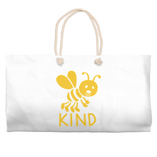 Load image into Gallery viewer, Bee Kind Beach Bag | Cotton Weekender Tote