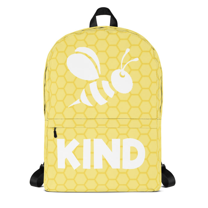 Be Kind Backpack | Kindness Book Bag | Yellow School Bag | Travel Bag for Bee Lovers