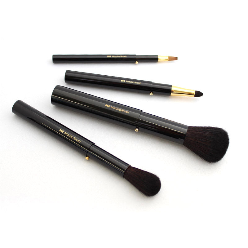 Mizuho KP-SET-K Portable 4-Piece Brush set Black, KP Series