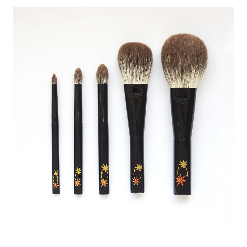 Koyudo Silver Fox Makie 5-Brush Set, Momiji Design