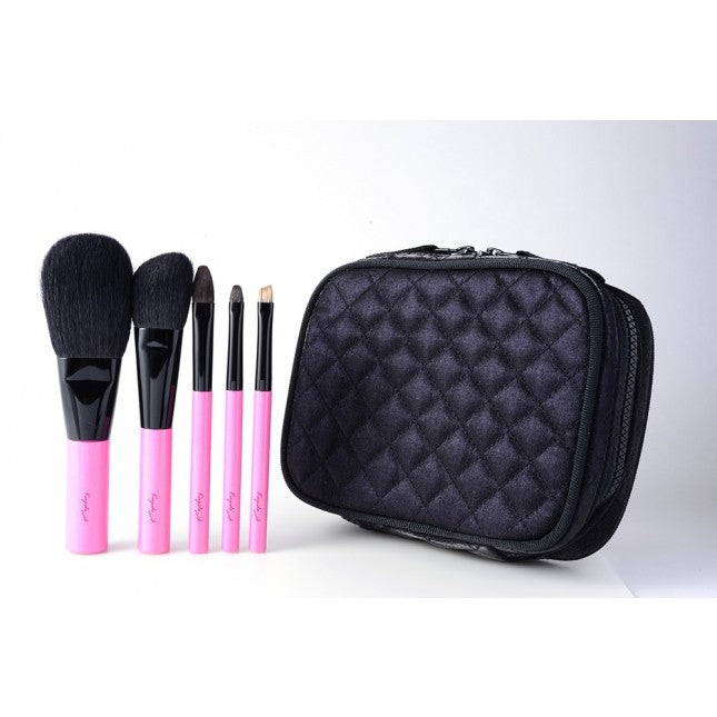 Koyudo 5-Piece Vivid Pink Brush Set with Zippered Case