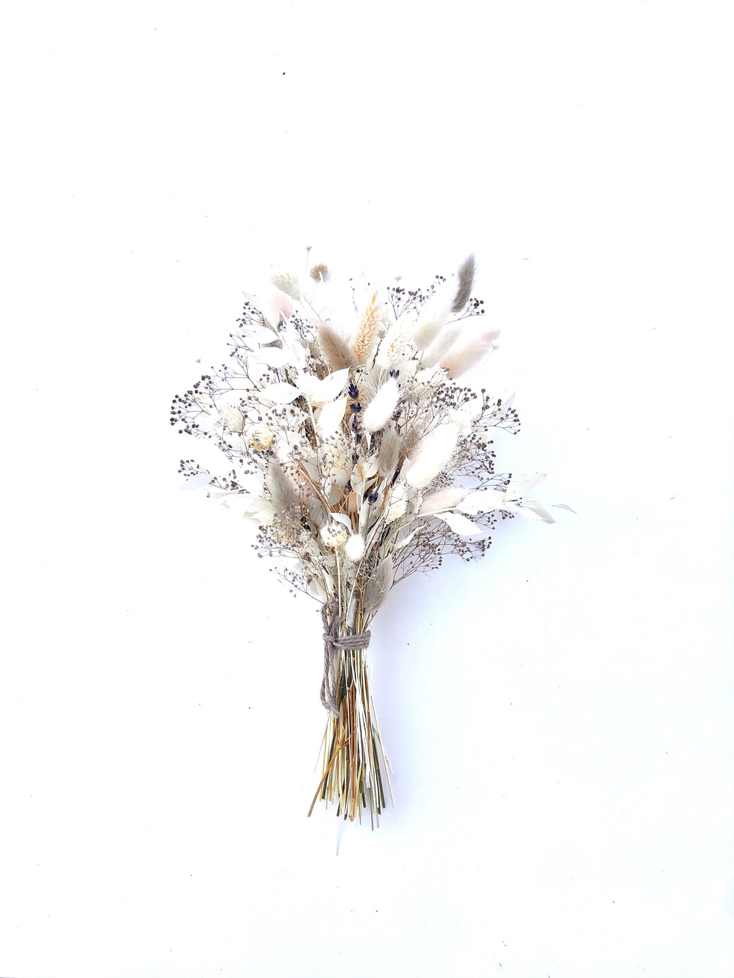 Blush, Purple and White dried floral bouquet