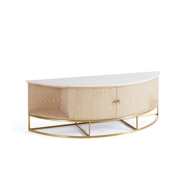 Oak Marble Brushed Gold Console