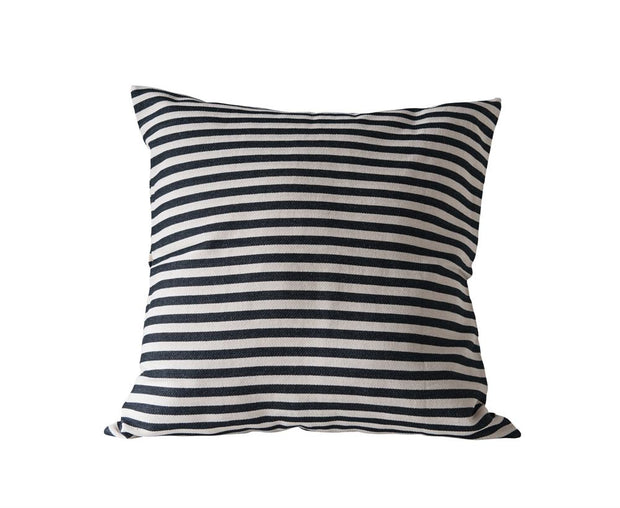 Black Woven Striped Pillow