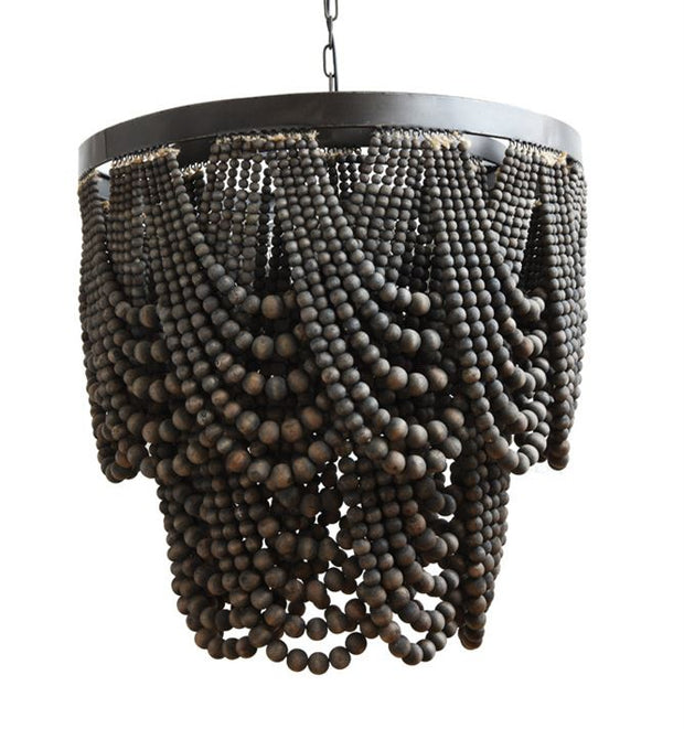 Black Wood Bead Chandelier