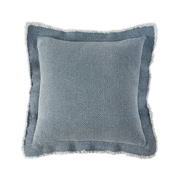 Blue Frayed Edge Pillow