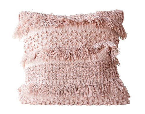 Pink Boho Fringe Pillow