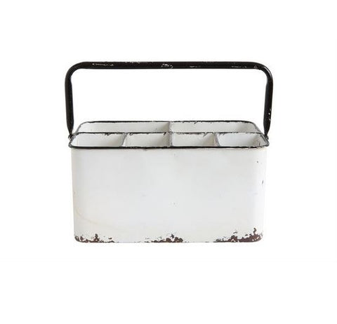 White Enamel Metal Caddy
