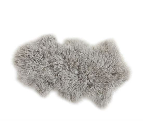 Grey Mongolian Fur Rug