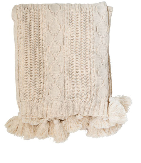 Cream Knit Cable Throw