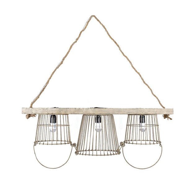 Metal & Wood Basket Chandelier