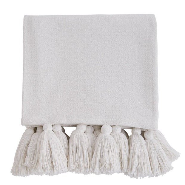 White Woven Tassel Throw