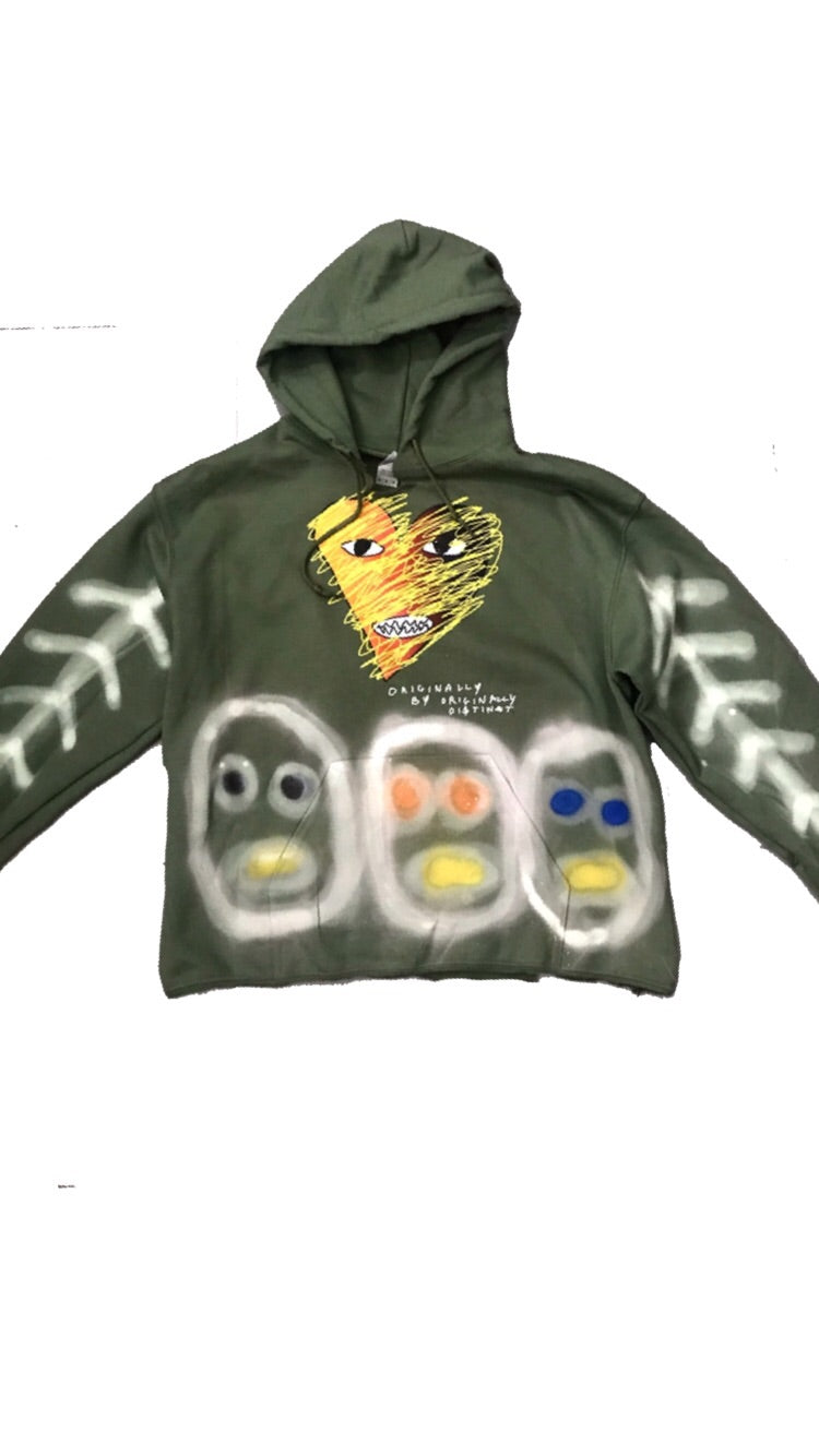 Olive Heart Contemporary Designer Hoodie