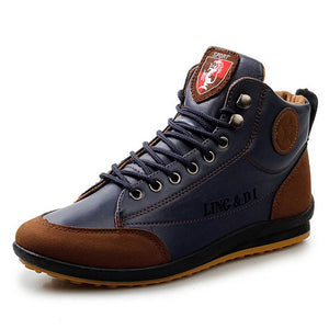 High-Top Leather Mens Ankle Boots