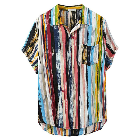 Colorful Vertical Striped Geometry Shirts