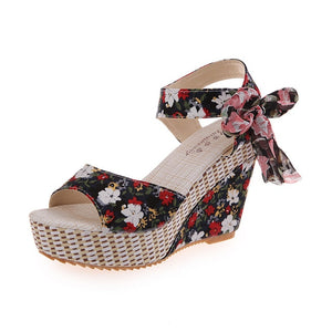 Summer Beach Boho Floral Wedge Sandals