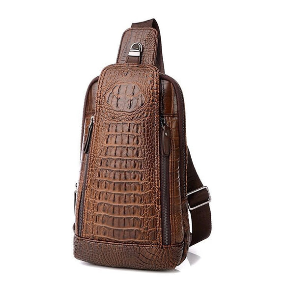 Leather Crocodiles Pattern Chest Bag