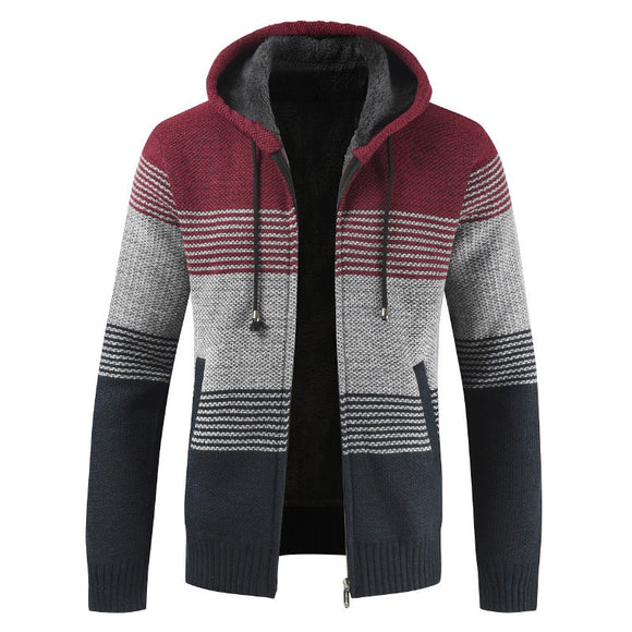 Hooded Stripe Thick Wool Cardigan