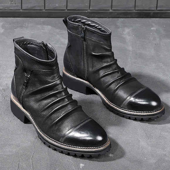 Retro Zipper Breathable Leather Boots