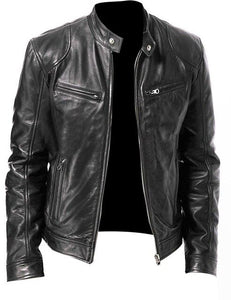 Vintage PU Leather Bomber Jacket