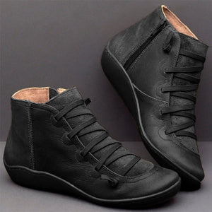 Womens PU Leather Ankle Boots
