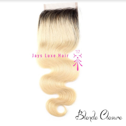 Blonde Closure Dark Root Body Wave