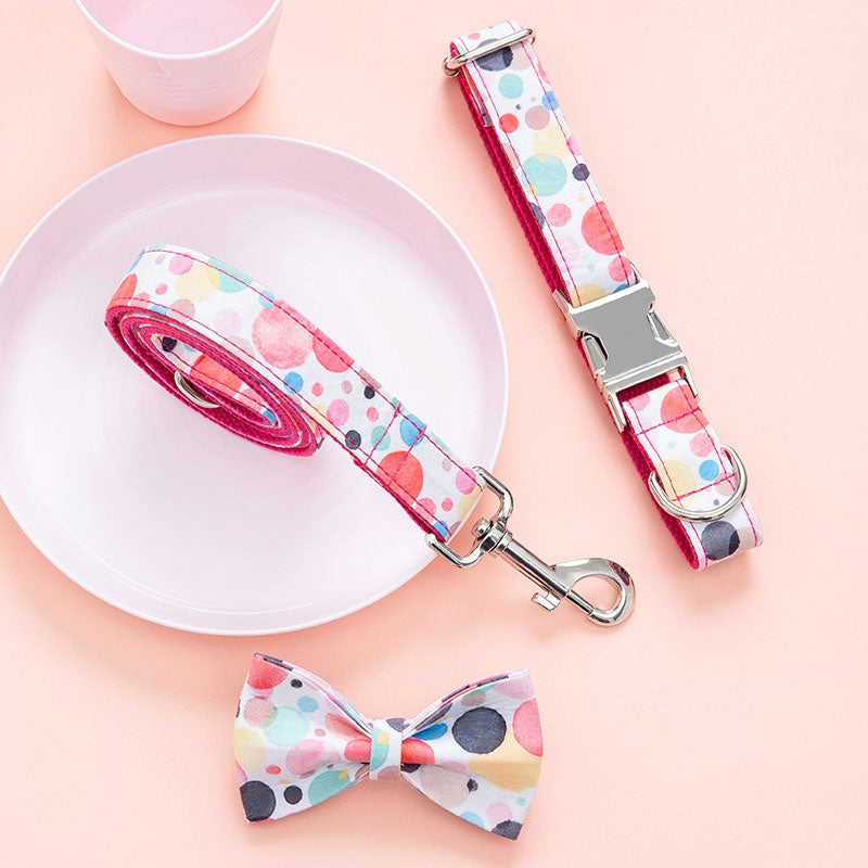 petduro dog leash and collar with bow tie set