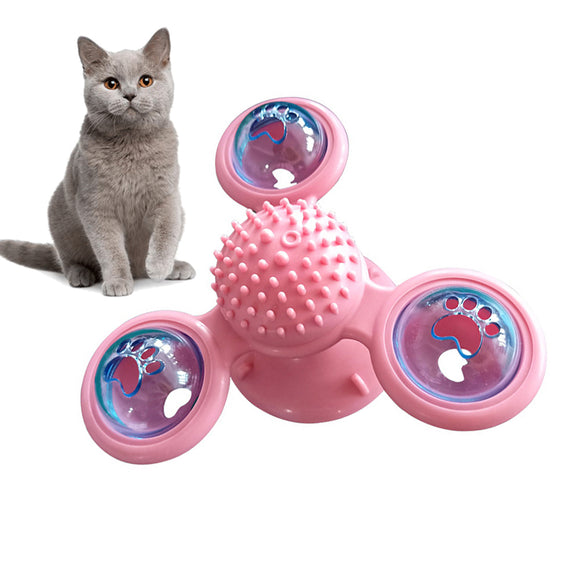 PETDURO Spinning Cat Toys for Kittens Toothbrush with Light Balls, Bells, Catnips and Suction Cup