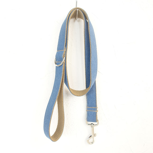 Fashion Fabric Dog Leash 4ft with Stainless Steel Carabiner for Small Medium Dogs Puppies-Brown Blue