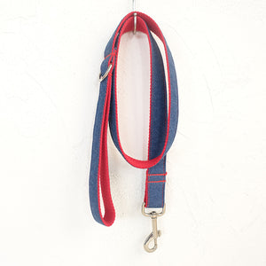 Stylish Dog Leash 4ft Cotton Fabric for Small Medium Dogs Puppies - Red Jean