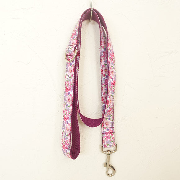 Beautiful Dog Leash 4ft Cotton Fabric for Large Small Dogs Puppies - Purple Flower