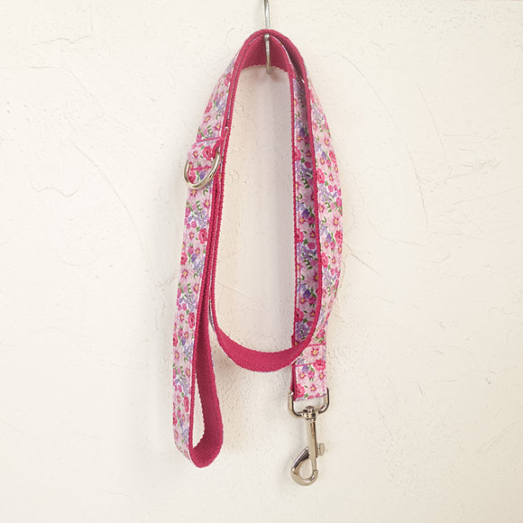 Beautiful Dog Leash 4ft Cotton Fabric for Large Small Dogs Puppies - Pink Flower