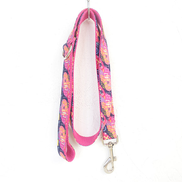 Stylish Dog Leash 4ft Cotton Fabric for Large Small Dogs Puppies - Pink Graffiti