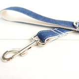 Stylish Dog Leash 4ft Cotton Fabric for Small Medium Dogs Puppies - White Jean