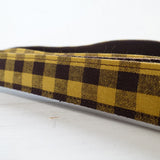 Modern Dog Leash 4ft Cotton Fabric Square Plaid for Large Small Dogs Puppies - Yellow Brown