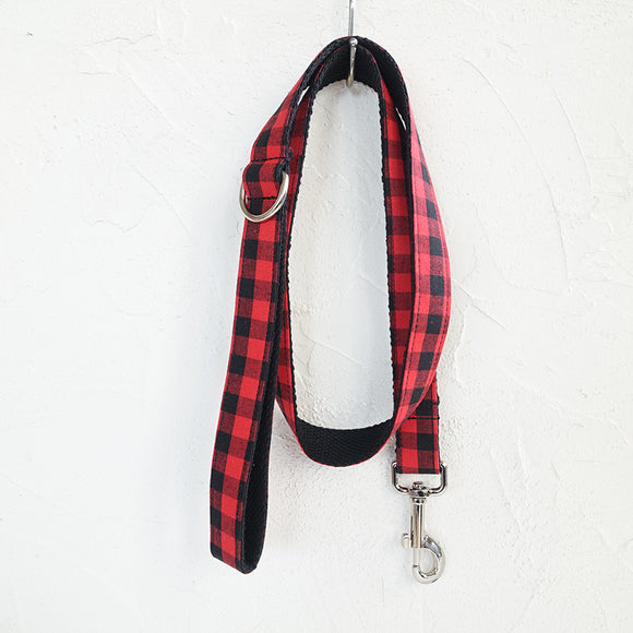 Modern Dog Leash 4ft Cotton Fabric Square Plaid for Large Small Dogs Puppies - Red Black